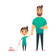 Cartoon vector father and son. Man and boy. Happy family. Happy Father's Day greeting card. Young man holds his child's hand