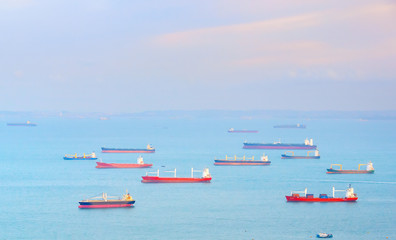 Industrial ships in Singapore harbor