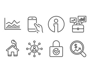 Set of Networking, Business portfolio and Hold smartphone icons. Password encryption, Trade infochart and Currency audit signs. Business communication, Job interview, Phone call. Vector