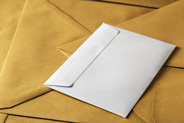 white clean envelope on kraft paper envelopes background