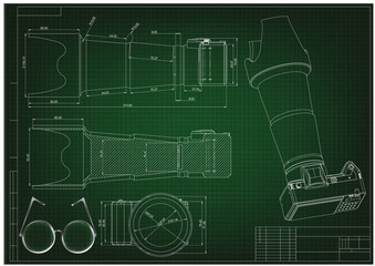 3d model of the camera on a green. Drawing