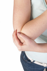 health care, fitness and medicine, woman with pain in elbow