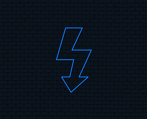 Neon light. Photo flash sign icon. Lightning symbol. Glowing graphic design. Brick wall. Vector