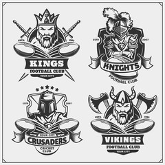 Football badges, labels and design elements. Sport club emblems with king, crusader, knight and viking.