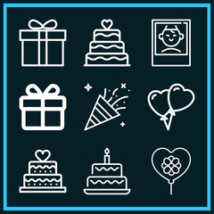 Set of 9 birthday outline icons