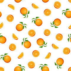 Vector seamless pattern with orange fruit on white.