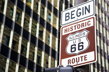 Poster Route 66 Begin of Route 66 in Chicago