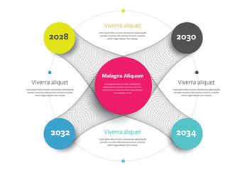 Infographic Layout with Multicolored Circles and Mesh