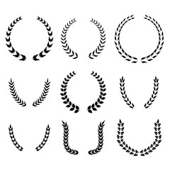 Set of laurel wreath, heraldic design, black icon