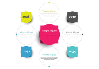 Infographic Layout with Circle and Square Shape Elements