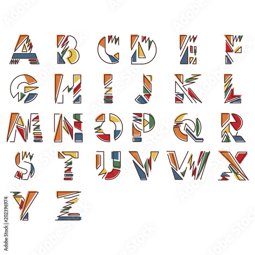 Modern linear typographic alphabet in a set  Contains