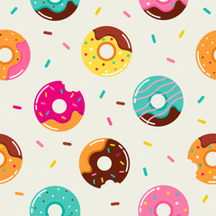 Sweet summer seamless pattern with donuts illustrations