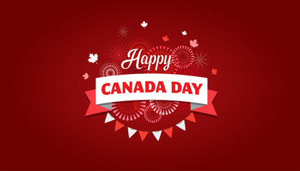 Happy Canada day, background, banner with fireworks and maple leaves Fototapete