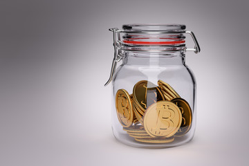 Invest your savings in Bitcoin? 3D Render of golden bitcoin coins in a glass jar