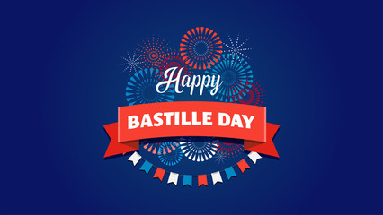 Happy Bastille Day, the French National Day poster and concept design Wall mural