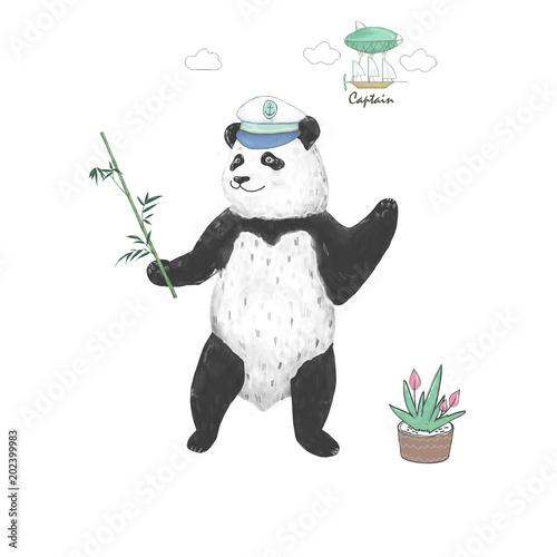 Panda Clip Art Bear Black Panda Captain Drawing Animal Illustration