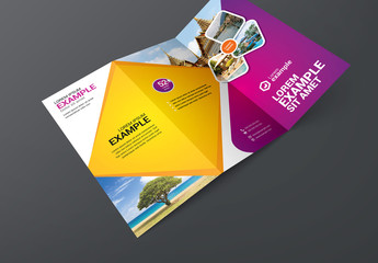 Purple and Orange Trifold Brochure Layout
