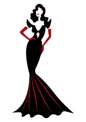 shop logo fashion woman, white silhouette diva. Company logo design, Beautiful luxury cover girl retro woman in black dress  , styling and black evening dress 1940s , 1950s, vector isolated