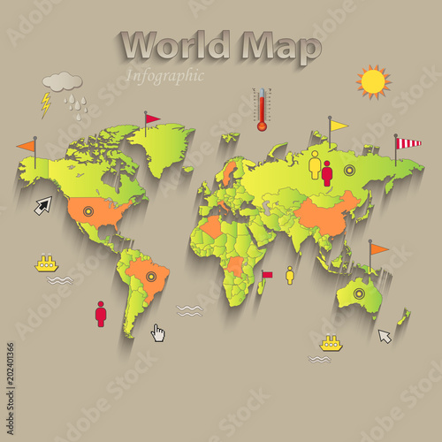 World map separate states infographics political map individual world map separate states infographics political map individual states vector gumiabroncs Image collections