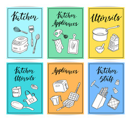 Vector kitchen utensils doodle icons card template set with cute letterings illustration