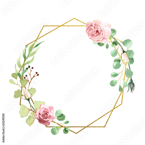 """Watercolor Floral Geometric Frame"" Stock Photo And"