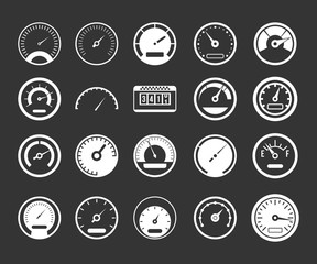 Dashboard icon set vector white isolated on grey background