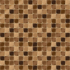 Mosaic tiles for bathroom and spa. Seamless background. Repeating texture. Brown shiny tile illustration.
