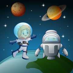 Astronaut and robot in the space