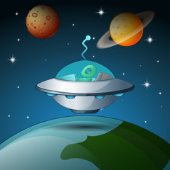Ufo with pillot in the space