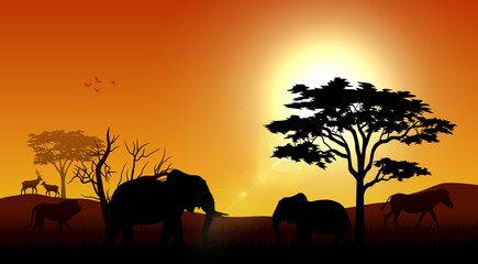 Silhouette animals on savannas in the afternoon
