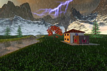 Storm in the valley, an autumn landscape, a small house next to the river, snowy mountains and grass on the ground with beautiful trees.
