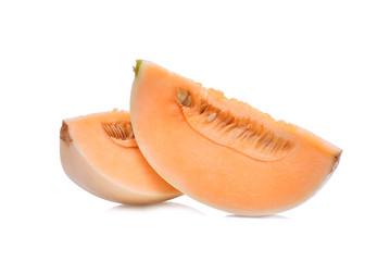 sliced honeydew melon(sunlady) isolated on white background