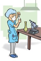 Mujer Química en laboratorio dibujo vector
