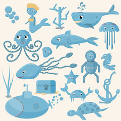 seamless pattern, vector set of flat illustration on marine life, underwater, white background
