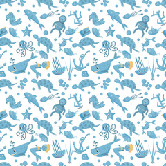 seamless pattern flat_2_illustration on the theme of marine life, underwater life, white background