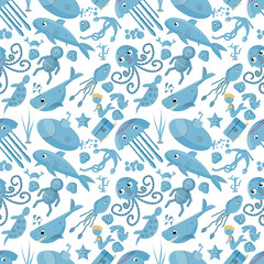 seamless pattern flat_3_illustration on the theme of marine life, underwater life, white background