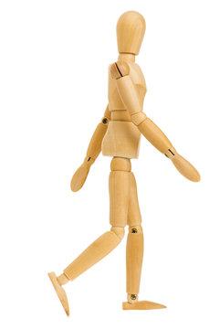 walking action of wooden figure