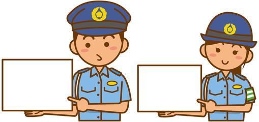 警察官と婦人警官のイメージイラスト