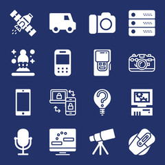 Technology filled vector icon set on navy background