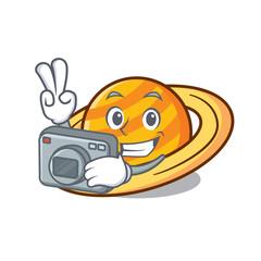 Photographer planet saturnus mascot cartoon