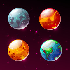 Planets in space vector illustration. Cartoon Earth, Mars or Moon and Sun or Pluto and Jupiter planet color icons of solar system, cosmos galaxy and stars on outer space background