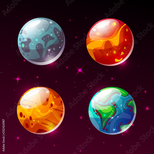 planets in space vector illustration cartoon earth mars or moon