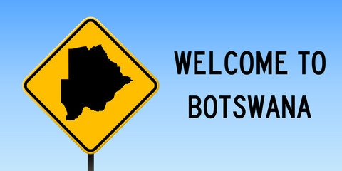 Botswana map on road sign. Wide poster with Botswana country map on yellow rhomb road sign. Vector illustration.