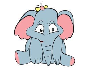 Vector cartoon animal. Sweet little elephant.