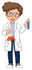 Man in science gown holding two beakers