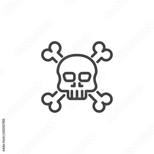 Crossbones death skull outline icon  linear style sign for mobile