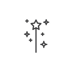Magic wand outline icon. linear style sign for mobile concept and web design. Fairy wand simple line vector icon. Symbol, logo illustration. Pixel perfect vector graphics