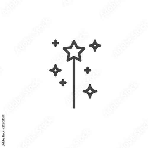 Magic Wand Outline Icon Linear Style Sign For Mobile Concept And