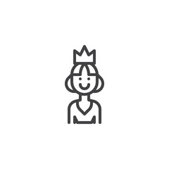 Smiling queen outline icon. linear style sign for mobile concept and web design. Princess simple line vector icon. Symbol, logo illustration. Pixel perfect vector graphics