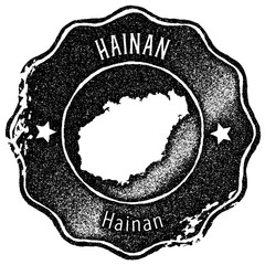 Hainan map vintage stamp. Retro style handmade label, badge or element for travel souvenirs. Black rubber stamp with island map silhouette. Vector illustration.